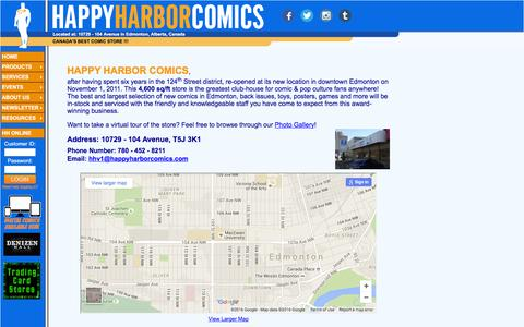 Screenshot of Contact Page Hours Page happyharborcomics.com - Happy Harbor Comics - captured May 27, 2016