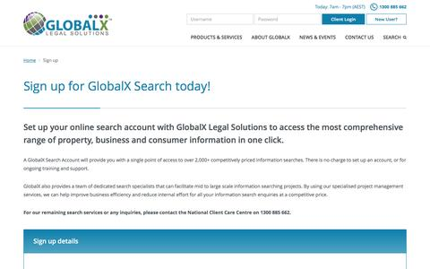 Screenshot of Signup Page globalx.com.au - Sign up for GlobalX Search today! - captured Sept. 26, 2016