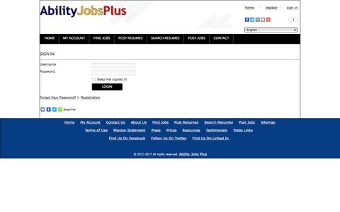 Screenshot of Login Page abilityjobsplus.com - Ability Jobs Plus: User login form - captured May 29, 2017