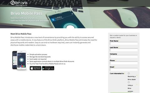 Screenshot of Landing Page brivo.com - Brivo - captured June 2, 2016