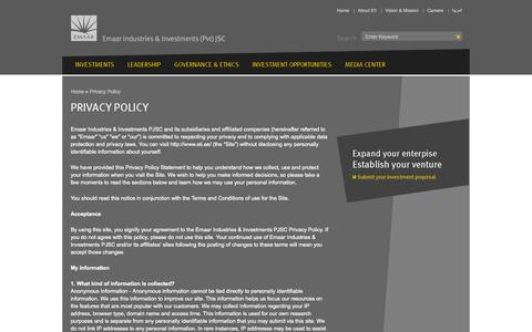 Screenshot of Privacy Page eii.ae - Privacy Policy - Emaar Industries & Investments - captured Oct. 2, 2014