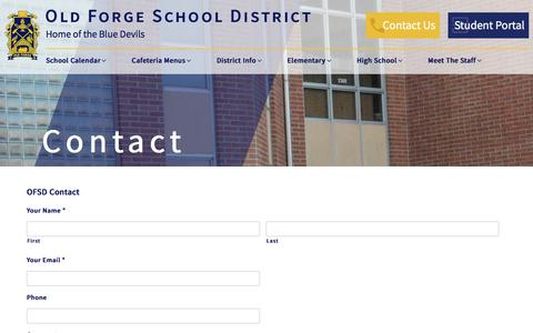 Screenshot of Contact Page ofsd.cc - Contact – Old Forge School District - captured Jan. 28, 2018