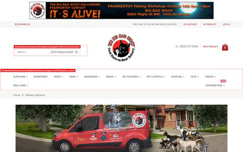 Screenshot of Services Page thebigbadwoof.com - Delivery Services - captured Oct. 9, 2017