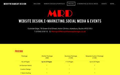 Screenshot of Pricing Page mervynramsaydesign.co.uk - Pricing - Mervyn Ramsay Design - captured Jan. 26, 2018