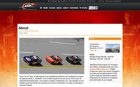 Screenshot of About Page jrmracing.com - JR Motorsports - captured Jan. 28, 2016