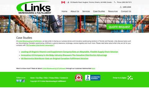 Screenshot of Case Studies Page linkscorp.ca - Links Warehousing & Fulfillment Toronto | Case Studies - captured Oct. 2, 2014