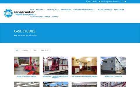 Screenshot of Case Studies Page mfgconstruction.co.uk - Case Studies | MFG Construction - captured Nov. 11, 2018