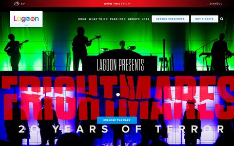 Screenshot of Home Page lagoonpark.com - Lagoon | It's What Fun Is! - captured Oct. 1, 2015