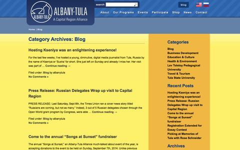 Screenshot of Blog albanytula.org - Blog | Albany-Tula Alliance - captured Oct. 4, 2014