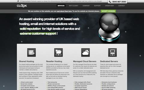 Screenshot of Home Page Services Page clook.net - Clook Internet | UK based web host providing shared, reseller, vps and managed dedicated hosting - captured Sept. 25, 2014