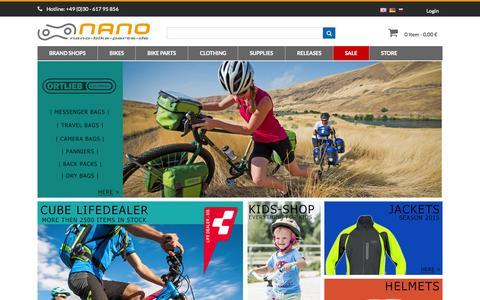 Screenshot of Home Page nano-bike-parts.de - Cube Bikes | Bike Parts | Specialized | Bike Shop | Bike Tuning - captured June 18, 2015