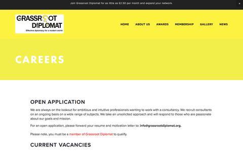 Screenshot of Jobs Page grassrootdiplomat.org - Careers — Grassroot Diplomat - captured May 23, 2017