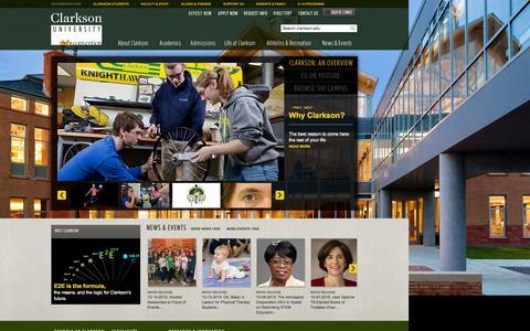 Screenshot of Home Page clarkson.edu - Clarkson University - captured Oct. 17, 2015