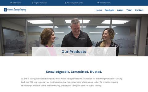 Screenshot of Products Page ga-ins.com - Products - General Agency Insurance - captured Sept. 27, 2018