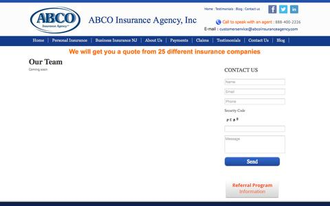 Screenshot of Team Page abcoinsuranceagency.com - Our Team At ABCO Insurance | Cherry Hill, Vineland & Egg Harbor NJ - captured Oct. 4, 2014