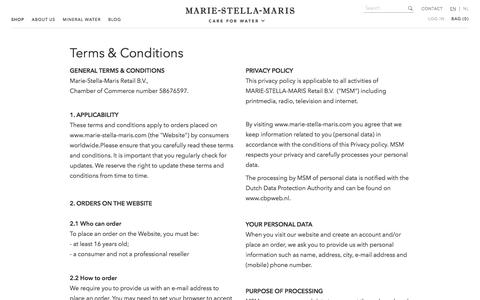 Screenshot of Privacy Page Terms Page marie-stella-maris.com - Terms & Conditions - captured May 26, 2017