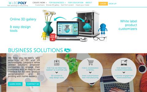 Screenshot of Home Page leopoly.com - Leopoly   The 3D content factory - captured July 13, 2016