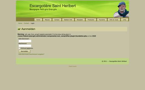 Screenshot of Login Page escargotsbelge.be - Login - captured Jan. 25, 2016