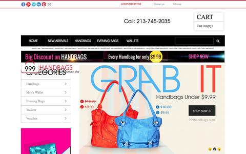 Screenshot of Home Page 999handbags.com - Buy All Wholesale Handbags under $9.99 - 999 Handbags - captured Sept. 22, 2014