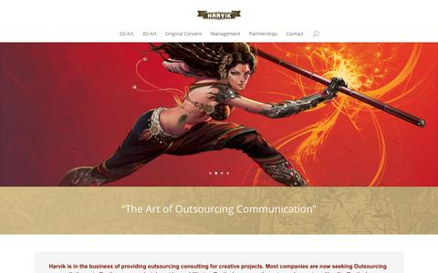 Screenshot of Home Page harvikllc.com - Home - Art Outsourcing Simplified - Harvik, LLC - captured Dec. 7, 2015