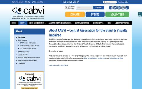 Screenshot of About Page cabvi.org - About the Central Association for the Blind and Visually Impaired | Utica, NY - captured July 20, 2017