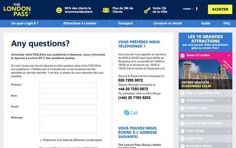 Screenshot of FAQ Page londonpass.fr - London Pass Contact Details - London Pass Customer Service Details - captured June 28, 2017