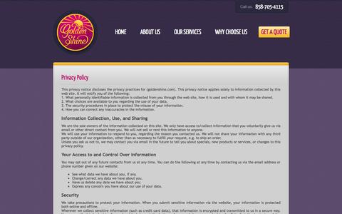 Screenshot of Privacy Page goldenshine.com - Privacy - San Diego House Cleaning Services by Golden Shine Cleaning Agency - captured Oct. 3, 2014