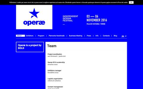 Screenshot of Team Page operae.biz - Team - Operae - Independent Design Festival - captured Nov. 22, 2016