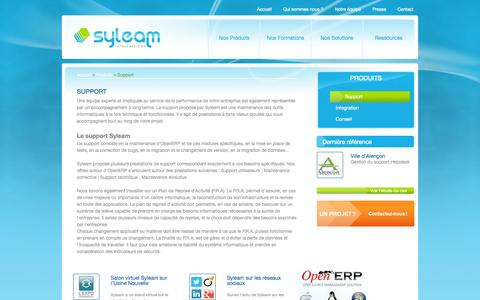 Screenshot of Support Page syleam.fr - Support / Produits / Accueil - Syleam - captured Oct. 26, 2014
