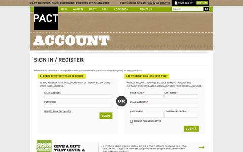 Screenshot of Login Page wearpact.com - Create New Customer Account - captured July 19, 2014