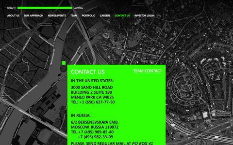 Screenshot of Contact Page bright-capital.com - Contact us - Bright Capital - captured Sept. 30, 2014