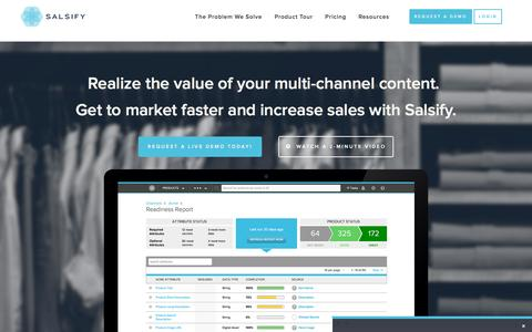 Screenshot of Home Page salsify.com - Salsify | Product Content Management and Exchange Software - captured Nov. 23, 2015