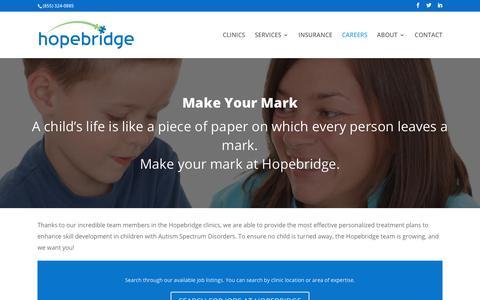 Screenshot of Jobs Page hopebridge.com - Start your Career with Hopebridge | Hopebridge - captured Nov. 1, 2017
