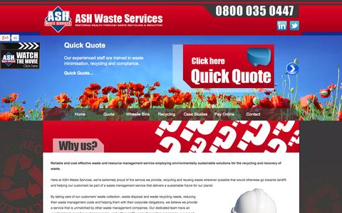 Screenshot of About Page ashwasteservices.co.uk - About Ash Waste Management - Waste Collection Service - captured Oct. 4, 2014