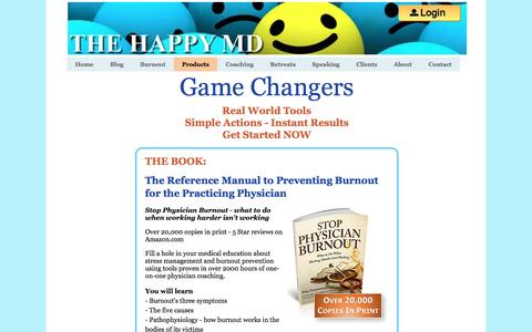 Screenshot of Products Page thehappymd.com - Physician Burnout Prevention and Treatment – TheHappyMD.com Products - captured Nov. 15, 2016