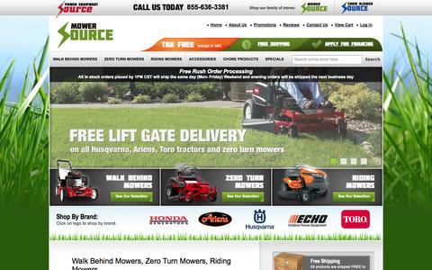 Screenshot of Home Page mowersource.com - Zero Turn Lawn Mowers | Riding Lawn Mowers | Mower Source - captured Oct. 2, 2014