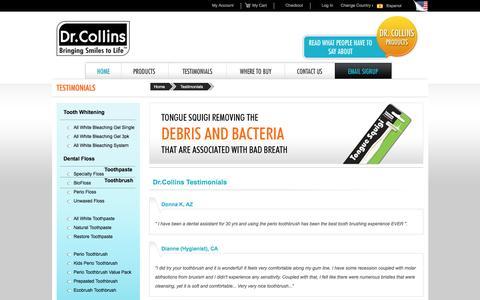 Screenshot of Testimonials Page drcollins.com - Testimonials - captured Nov. 24, 2016