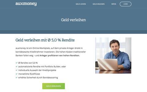 Geld verleihen mit Ø 5,0% Rendite » AUXMONEY.com