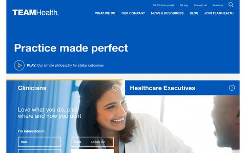 Screenshot of Home Page teamhealth.com - TeamHealth | Medical Staffing Solutions & Physician Job Opportunities - captured Nov. 17, 2018