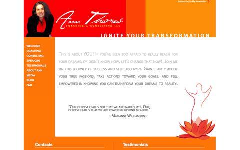 Screenshot of Home Page coachannthomas.com - CoachAnnThomas.com : Ann Thomas Life Coach - captured Oct. 4, 2014