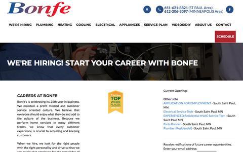 Screenshot of Jobs Page bonfe.com - Bonfe Careers, Jobs, Apprenticeships Minneapolis & St. Paul Metro Area - captured April 2, 2018