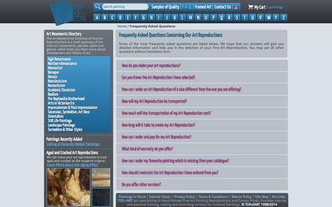 Screenshot of FAQ Page topofart.com - Art Reproductions Frequently Asked Questions - captured Oct. 9, 2014