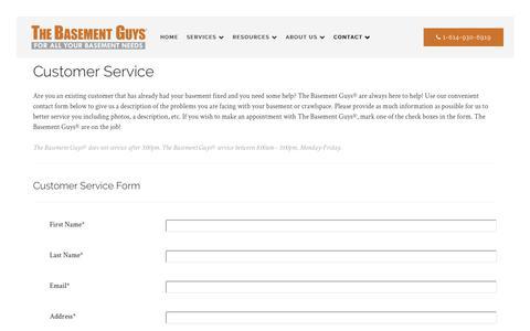 Screenshot of Support Page thebasementguys.com - Customer Service | The Basement Guys - captured June 14, 2017