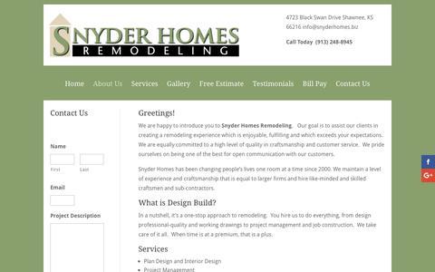 Screenshot of About Page snyderhomes.biz - About Us | Snyder Homes - captured Dec. 17, 2016