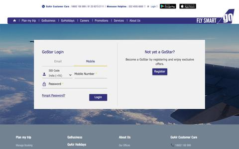 Screenshot of Login Page goair.in - GoAir | Airline Tickets and Fares - Member Login - captured July 21, 2018