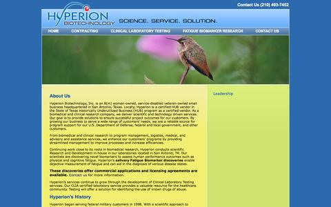 Screenshot of About Page hyperionbiotechnology.com - About Us   Hyperion Biotechnology - captured Oct. 3, 2014