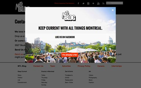 Screenshot of Contact Page mtlblog.com - Contact us  | MTL Blog - captured Sept. 18, 2014
