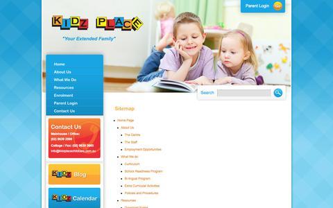 Screenshot of Site Map Page kidzplacechildcare.com.au - Sitemap - captured Oct. 6, 2014