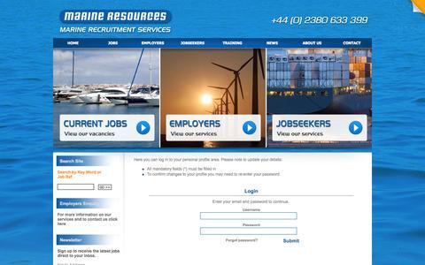 Screenshot of Login Page marineresources.co.uk - Login page : Marine Resources - captured Oct. 4, 2014
