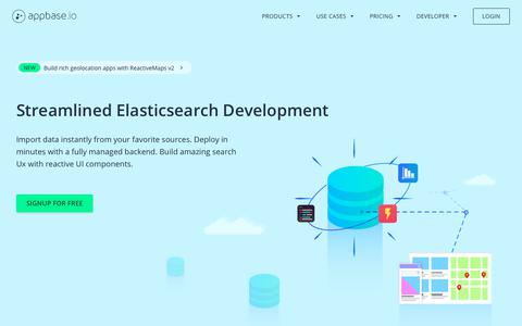 Screenshot of Home Page appbase.io - Appbase.io - Realtime Elasticsearch Service - captured June 18, 2018